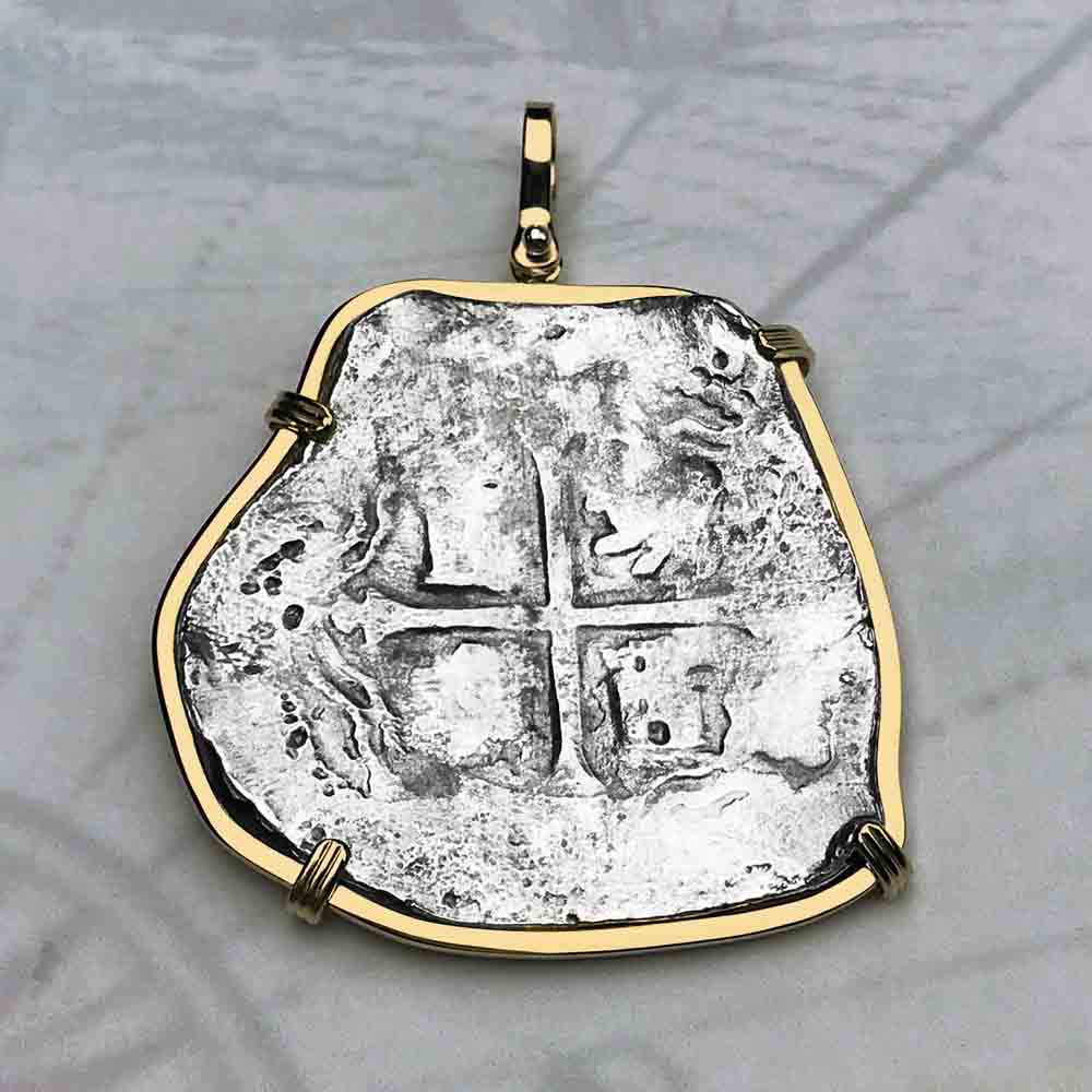 Concepcion Shipwreck Spanish 8 Reale Silver Piece of Eight 14K Gold Necklace