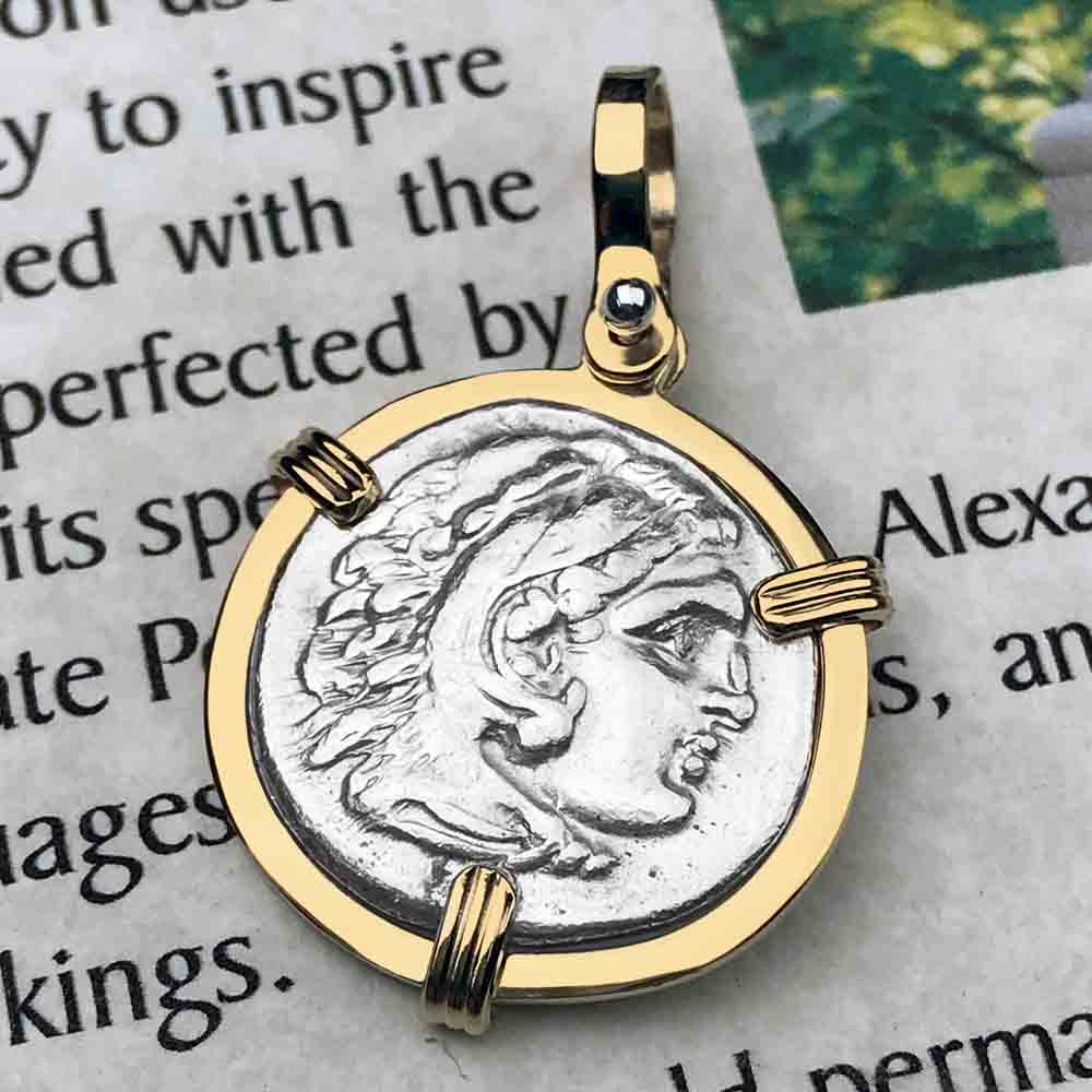 Ancient Greek Alexander the Great Silver Drachm Coin 14K Gold Necklace