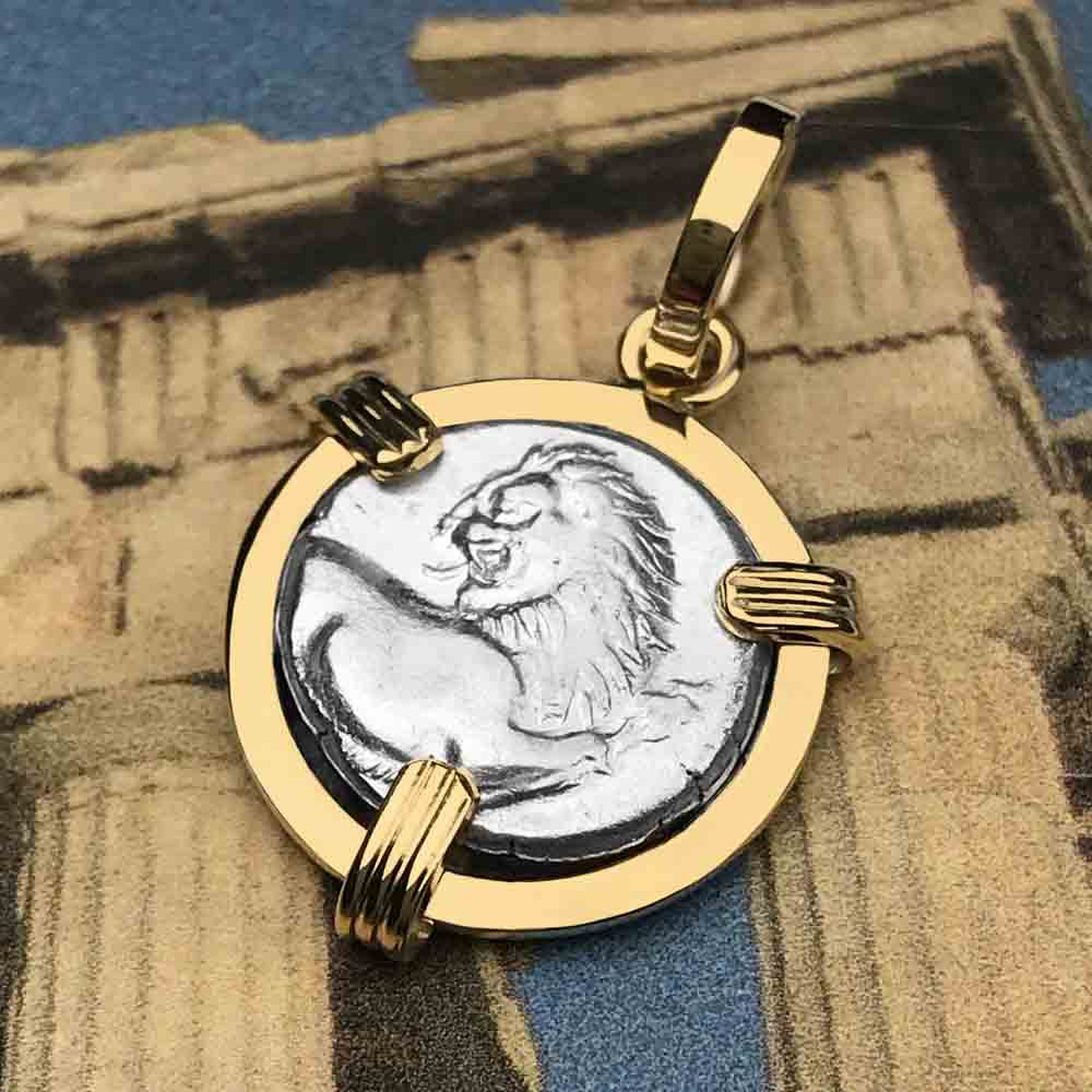 Ancient Greek Lion Hemidrachm 400 BC 14K Gold Necklace