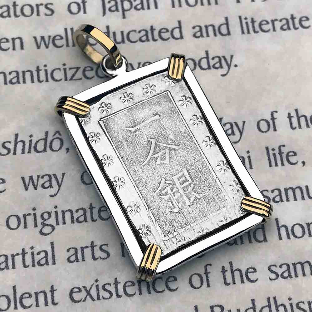 The Coins of the Last Samurai & Shogunate Ichibu-Gin Necklace in 14K Gold & Sterling Silver