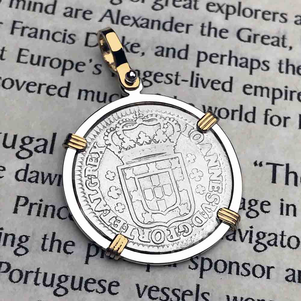 "Portuguese 120 Reis ""In This Sign Conquer"" Crusaders' Cross 14K Gold and Sterling Necklace"