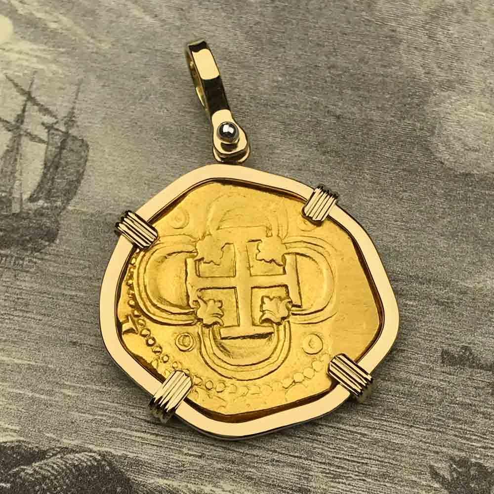 1593 Shipwreck 22K Gold 2 Escudo - the Legendary Doubloon - 18K Gold Pendant