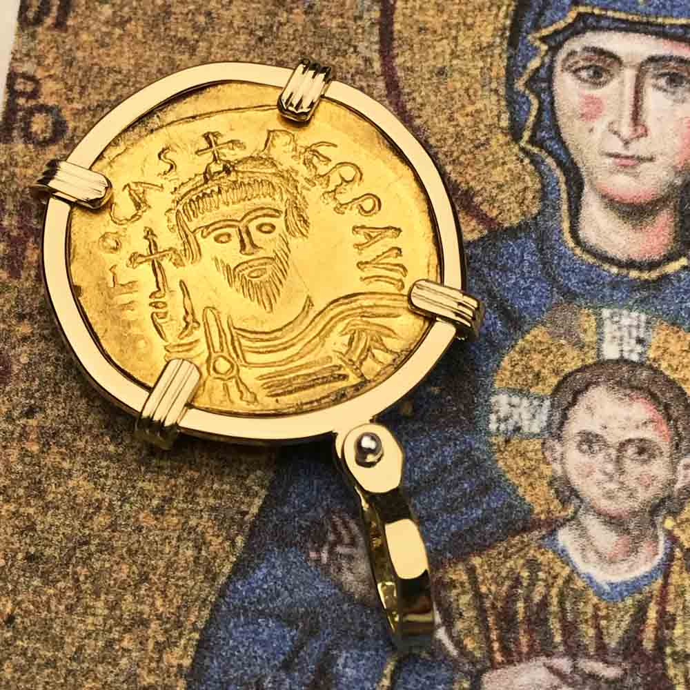 Byzantine Empire Gold Angel Solidus Coin Circa 607 AD in 18K Gold Pendant