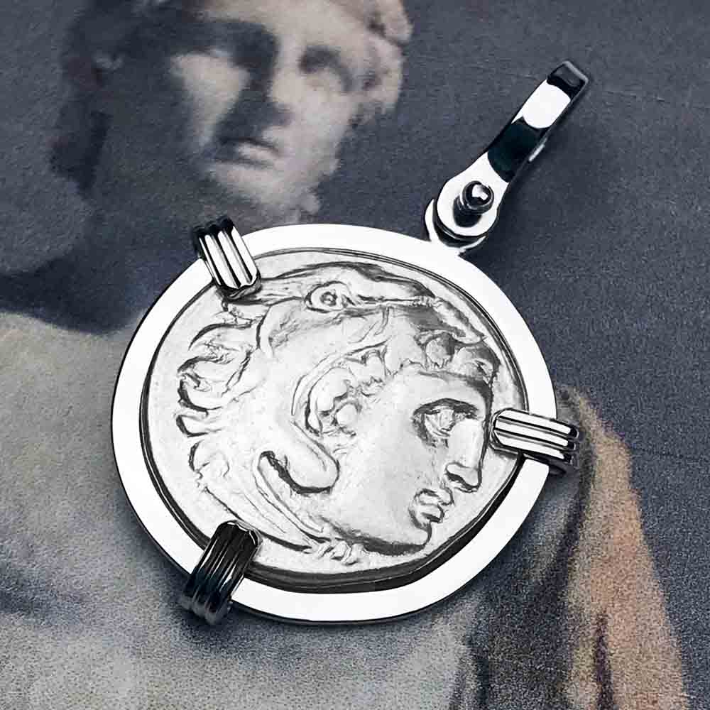 Ancient Greek Alexander the Great Silver Drachm Coin 14K White Gold Necklace