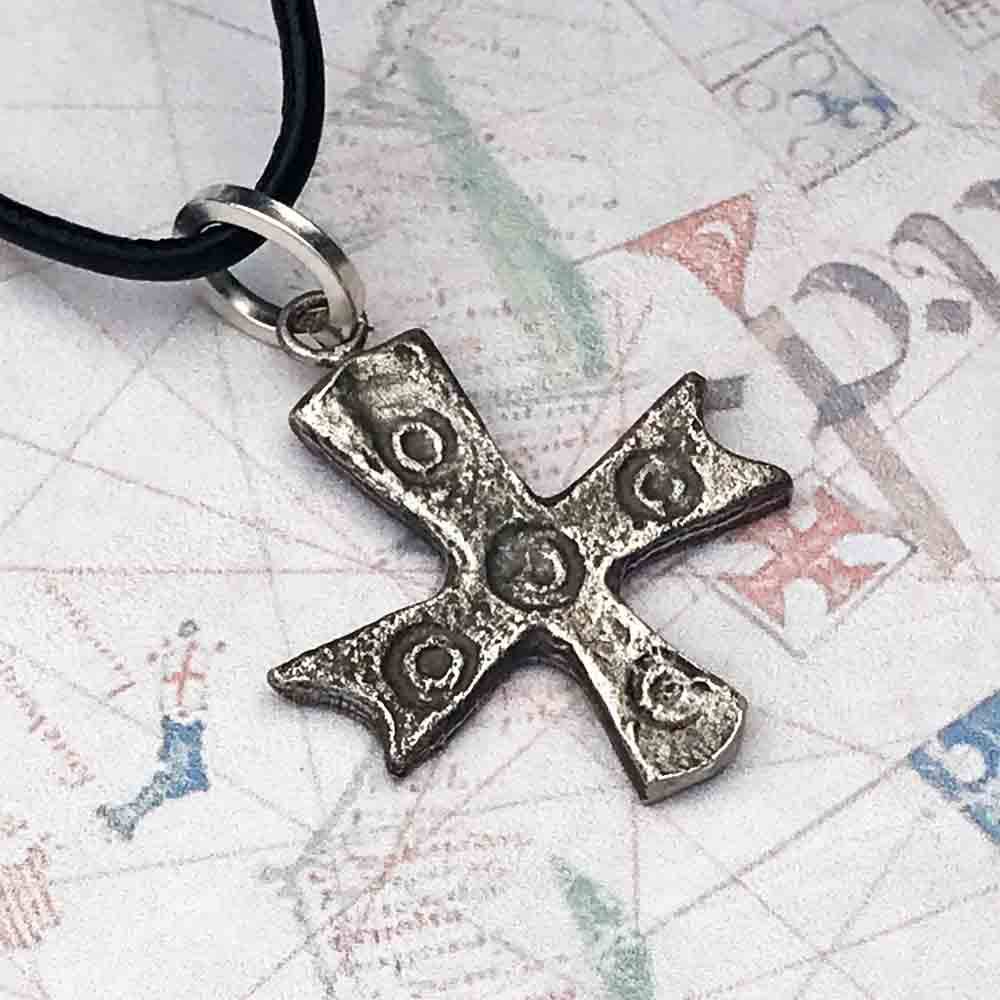 "Byzantine Crusader ""Five Wounds of Christ"" Cross Pendant circa 1,000 AD in Sterling Silver or Bronze"