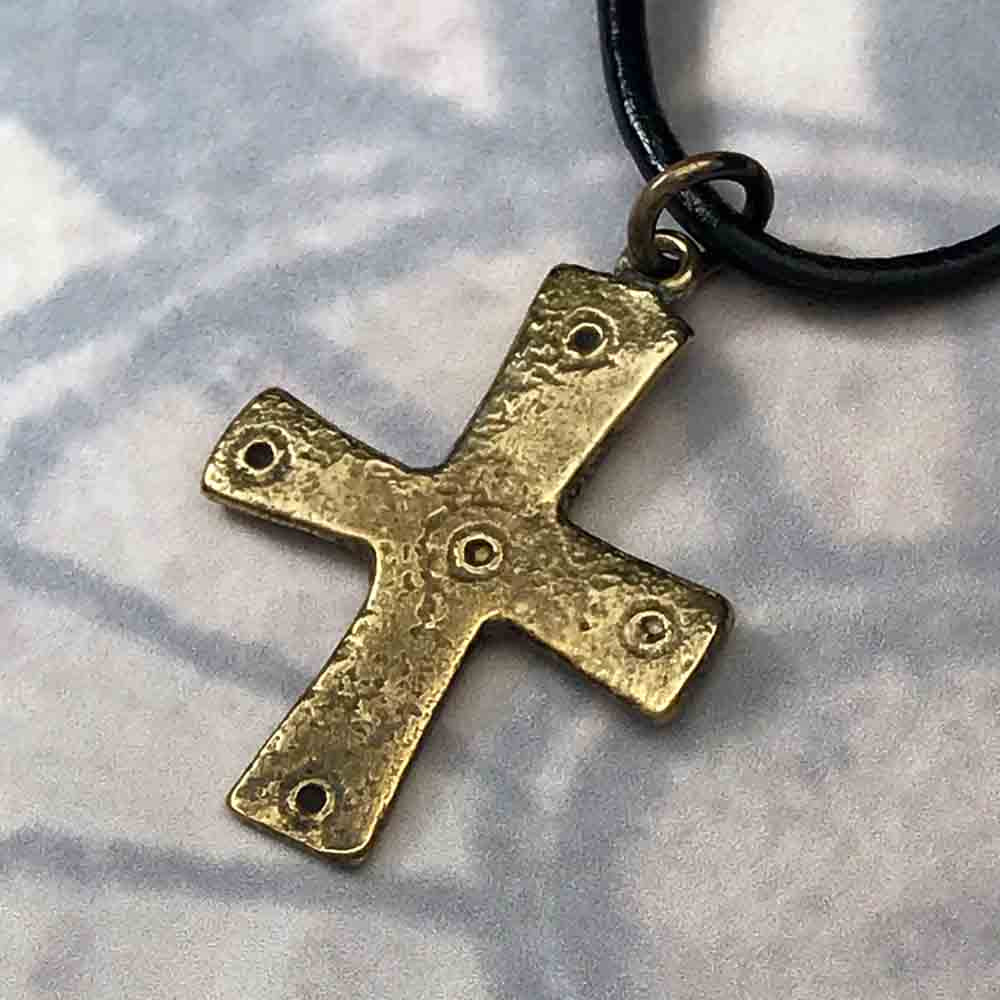 "Medieval Byzantine ""Five Wounds of Christ"" Double-Sided Cross Pendant circa 1,000 AD in Sterling Silver or Bronze"