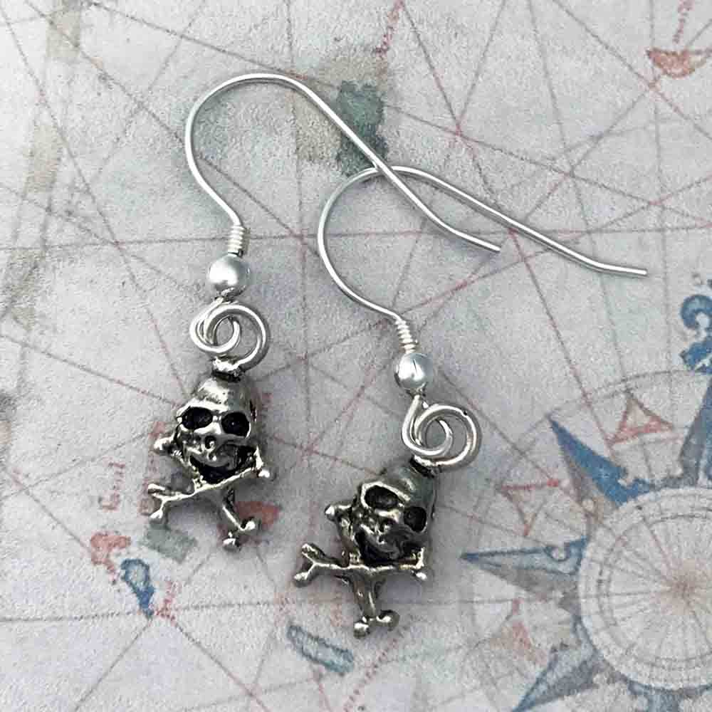 Pirates of the Caribbean Skull & Crossbones Single or Pair of Earrings in Shipwreck Silver