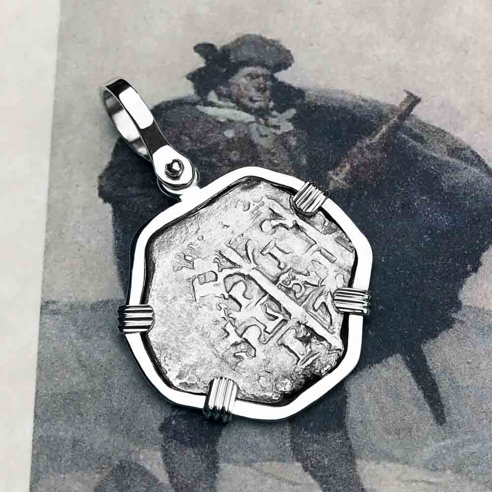 "Rare Double Dated Consolacion Shipwreck 1675 Pirate 1 Reale ""Piece of Eight"" Cob Sterling Silver Necklace"