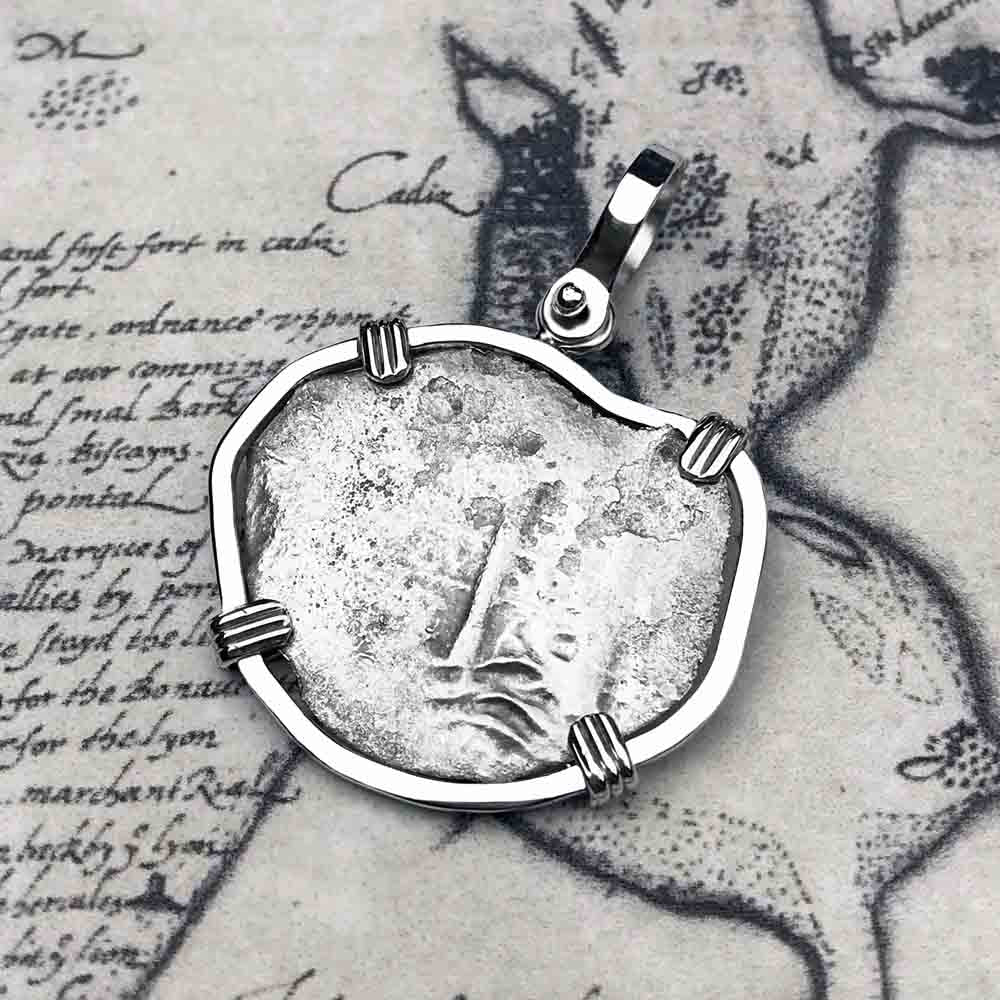 "Consolacion Shipwreck 1665 Pirate 1 Reale ""Piece of Eight"" Cob Sterling Silver Necklace"