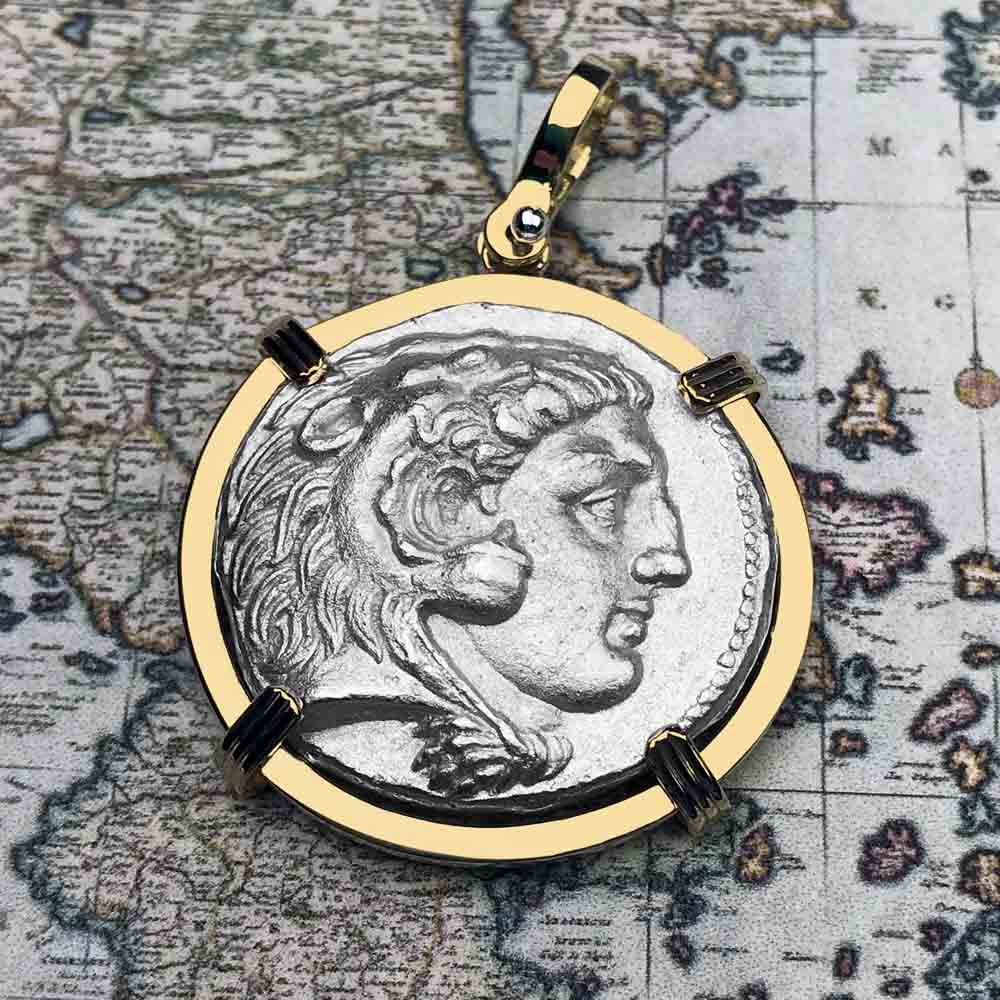 Ancient Greek Alexander the Great Silver Tetradrachm Coin 18K Gold Necklace