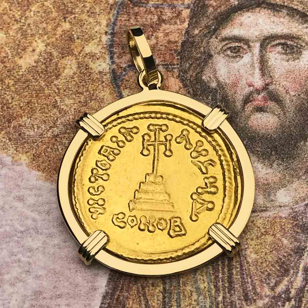 Constans II Byzantine Empire Gold Cross Solidus Coin Circa 650 AD in 18K Gold Pendant