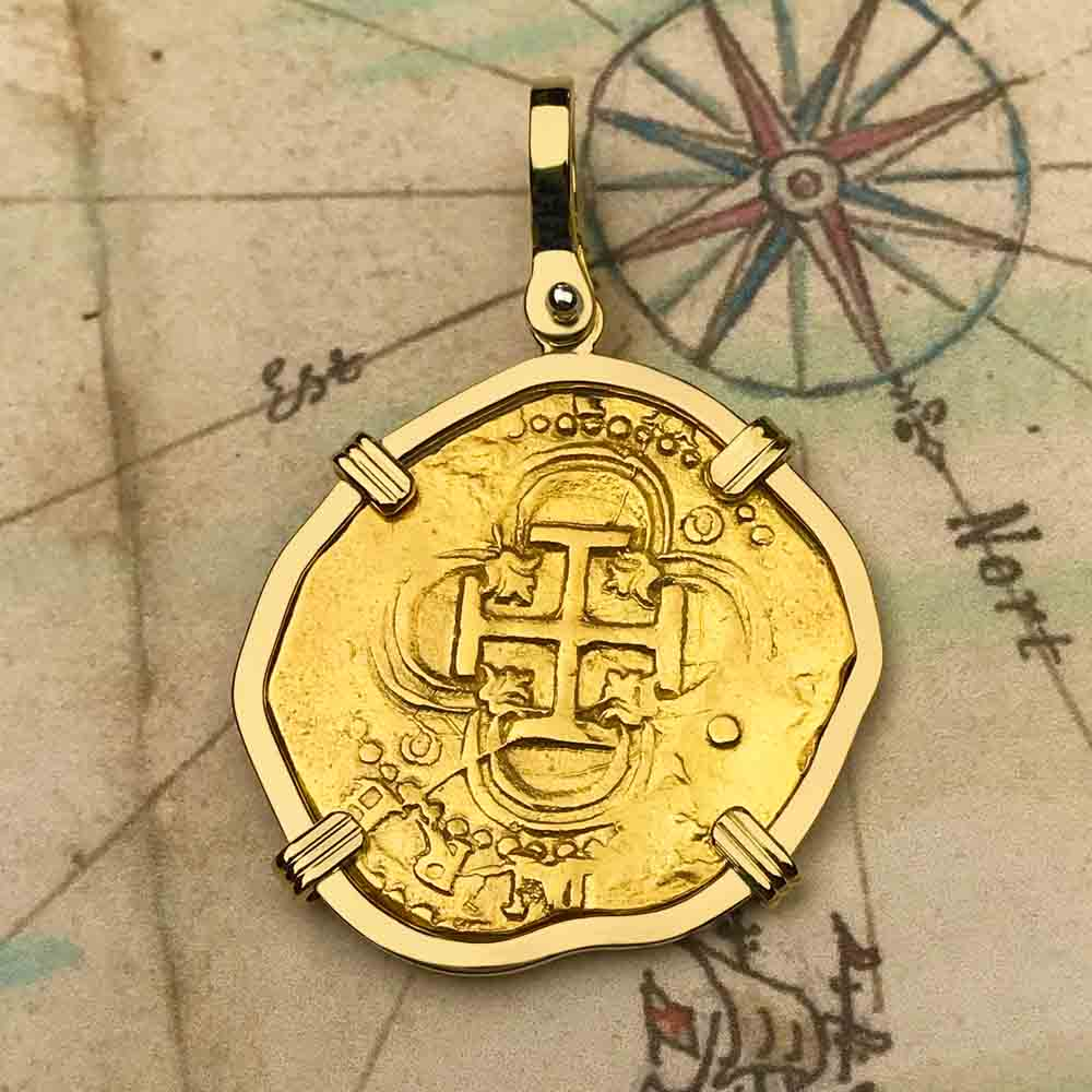 1586 Shipwreck 22K Gold 2 Escudo - the Legendary Doubloon - 18K Gold Pendant