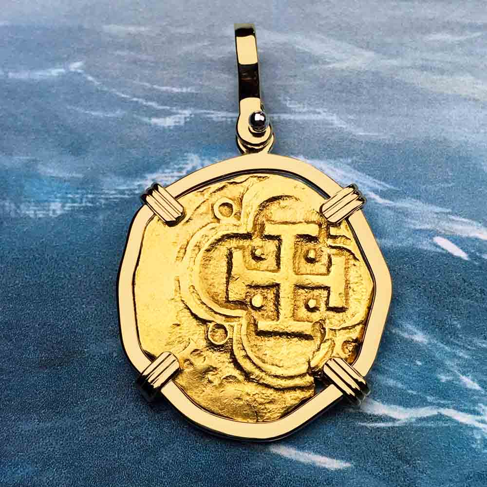 Rare Dated 1628 Shipwreck 22K Gold 2 Escudo - the Legendary Doubloon - 18K Gold Pendant