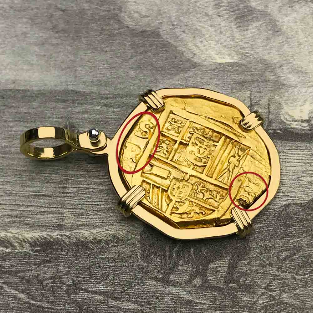 Rare Dated 1628 Shipwreck 22K Gold 2 Escudo - the Legendary Doubloon - 18K Gold Pendant | Artifact #5466