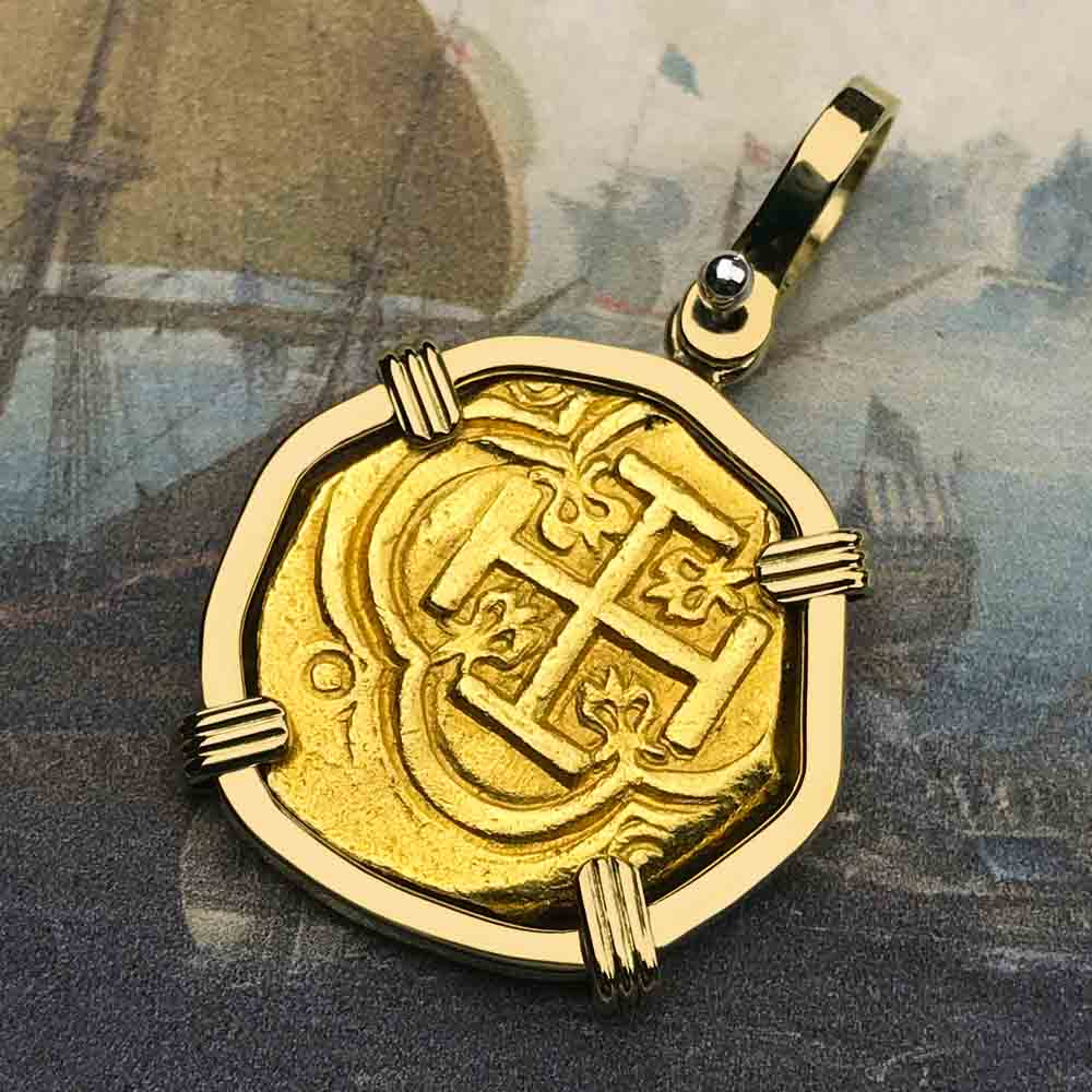 1630 Shipwreck 22K Gold 2 Escudo - the Legendary Doubloon - 18K Gold Pendant