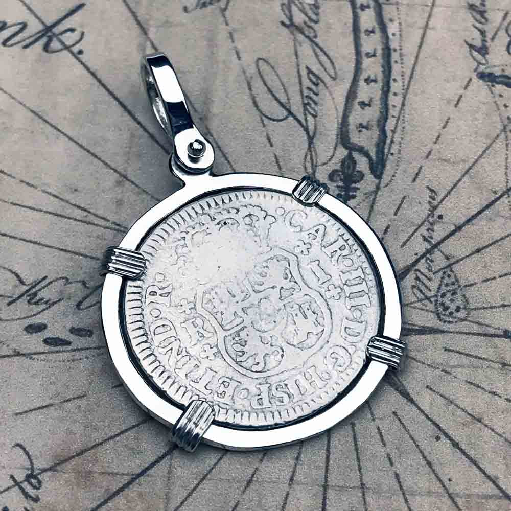 El Cazador Shipwreck 1763 Pillar Dollar 1 Reale Sterling Silver Treasure Coin Necklace