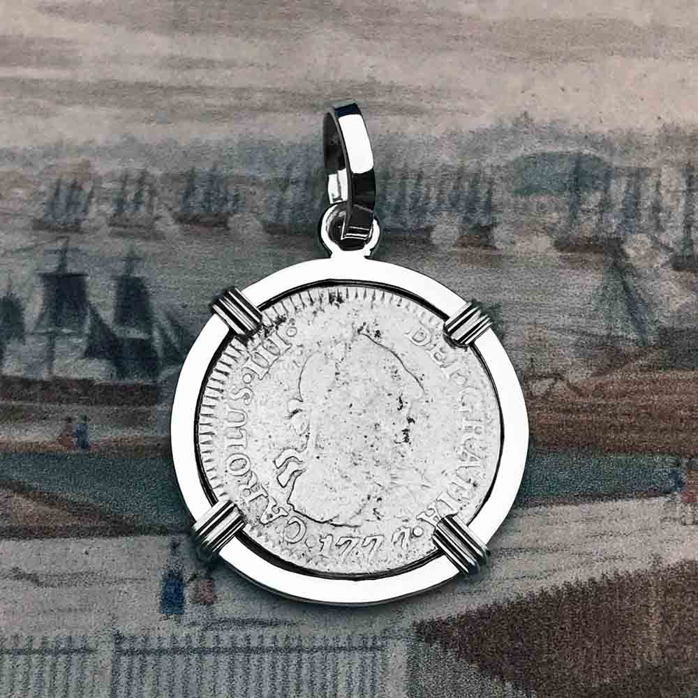 El Cazador Shipwreck 1777 1/2 Reale Sterling Silver Treasure Coin Necklace