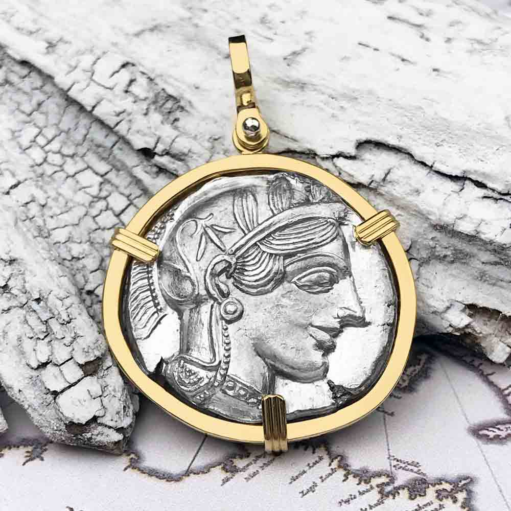 RARE Ancient Greek Athena and the Owl Silver Tetradrachm circa 450 BC 18K Gold Necklace | Artifact #5472