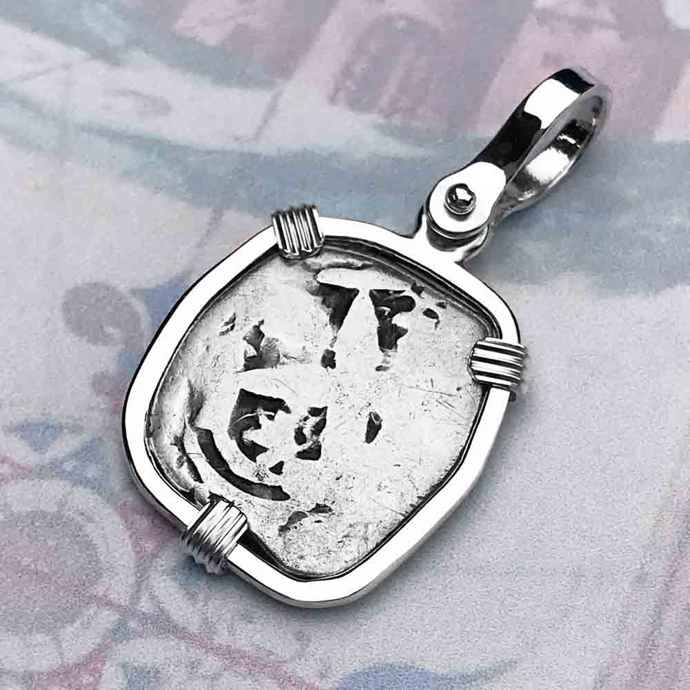"1760 Spanish 1 Reale Pirate ""Piece of Eight"" Sterling Silver Necklace"