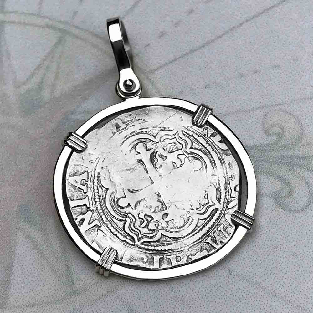 "Circa 1580 Spanish 1 Reale Cob Pirate ""Piece of Eight"" Sterling Silver Necklace"