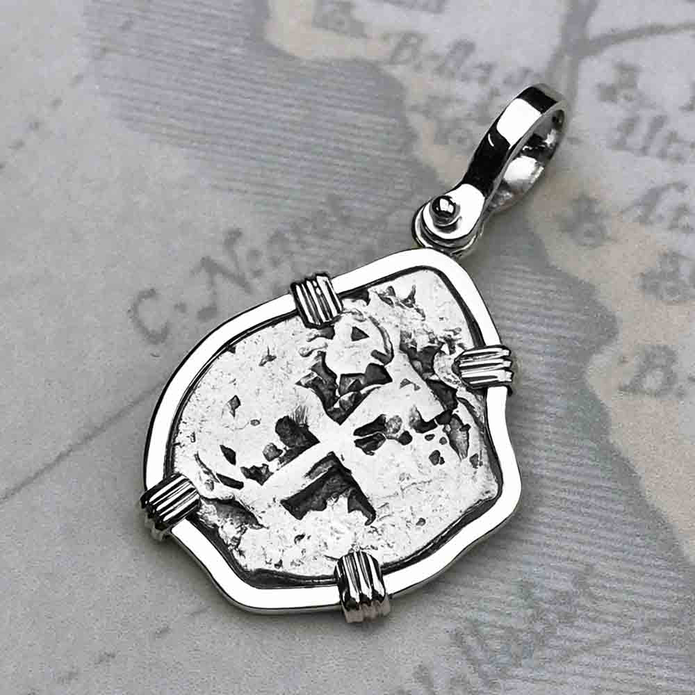 "1740 Spanish 1 Reale Pirate ""Piece of Eight"" Sterling Silver Necklace"