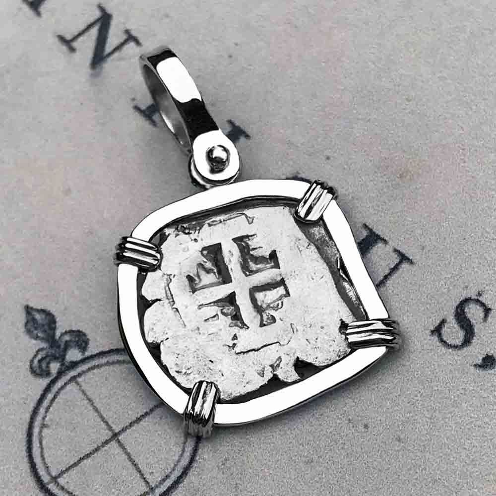"1760 Spanish 1/2 Reale Pirate ""Piece of Eight"" Sterling Silver Necklace"