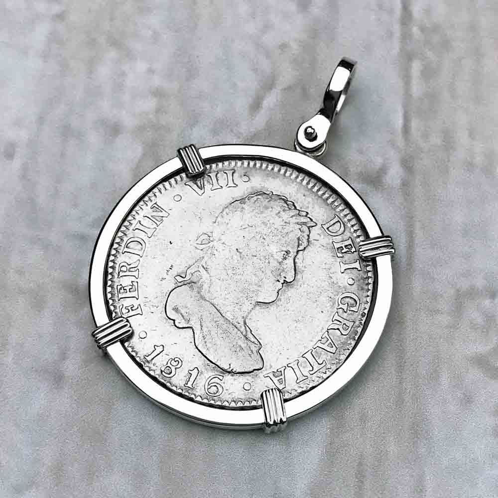 "2 Reale Silver Spanish Portrait Dollar Dated 1816 - the Legendary ""Piece of Eight"" Necklace"