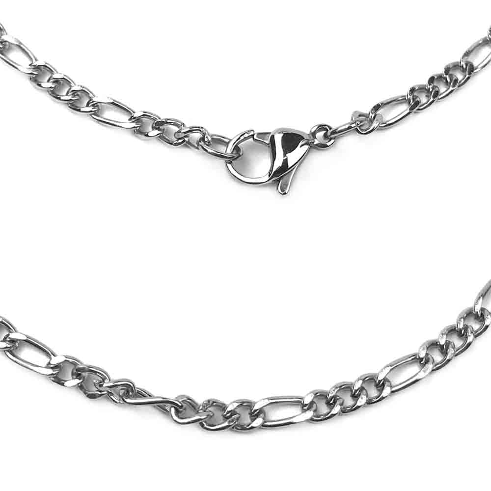 3.0 mm Antiqued Stainless Steel Figaro Chain