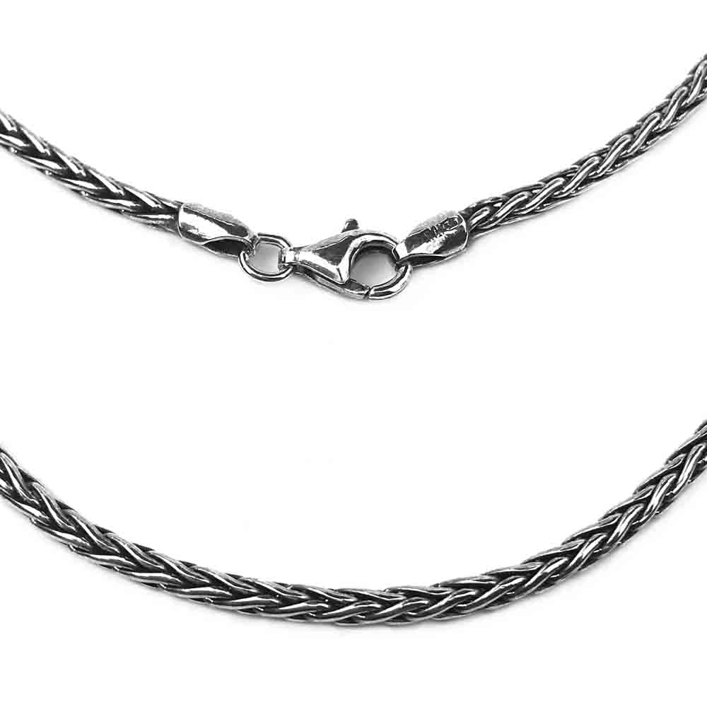 2.3 mm Sterling Silver Antiqued Wheat Chain - LUXURY WEIGHT