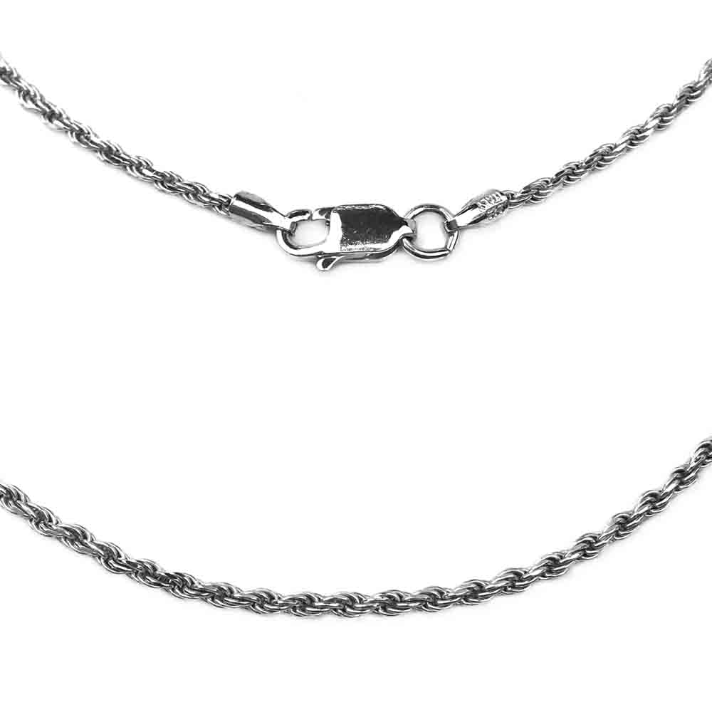 1.7 mm Antiqued Sterling Silver Rope Chain