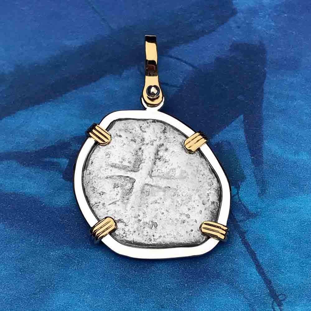 "1715 Fleet Shipwreck Spanish 2 Reale ""Piece of 8"" 14K & Sterling Silver Necklace"