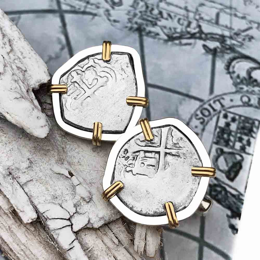 "1720 Spanish 1/2 Reale Pirate ""Piece of Eight"" 14K Gold & Sterling Silver Cuff Links"