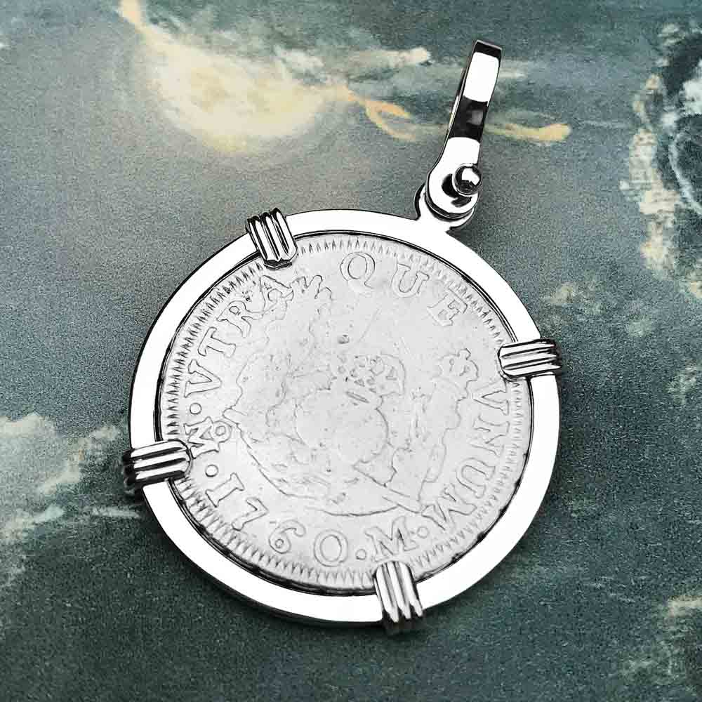 "1760 Spanish 1 Reale Pirate ""Piece of Eight"" Pillar Dollar Pendant in Sterling Silver"