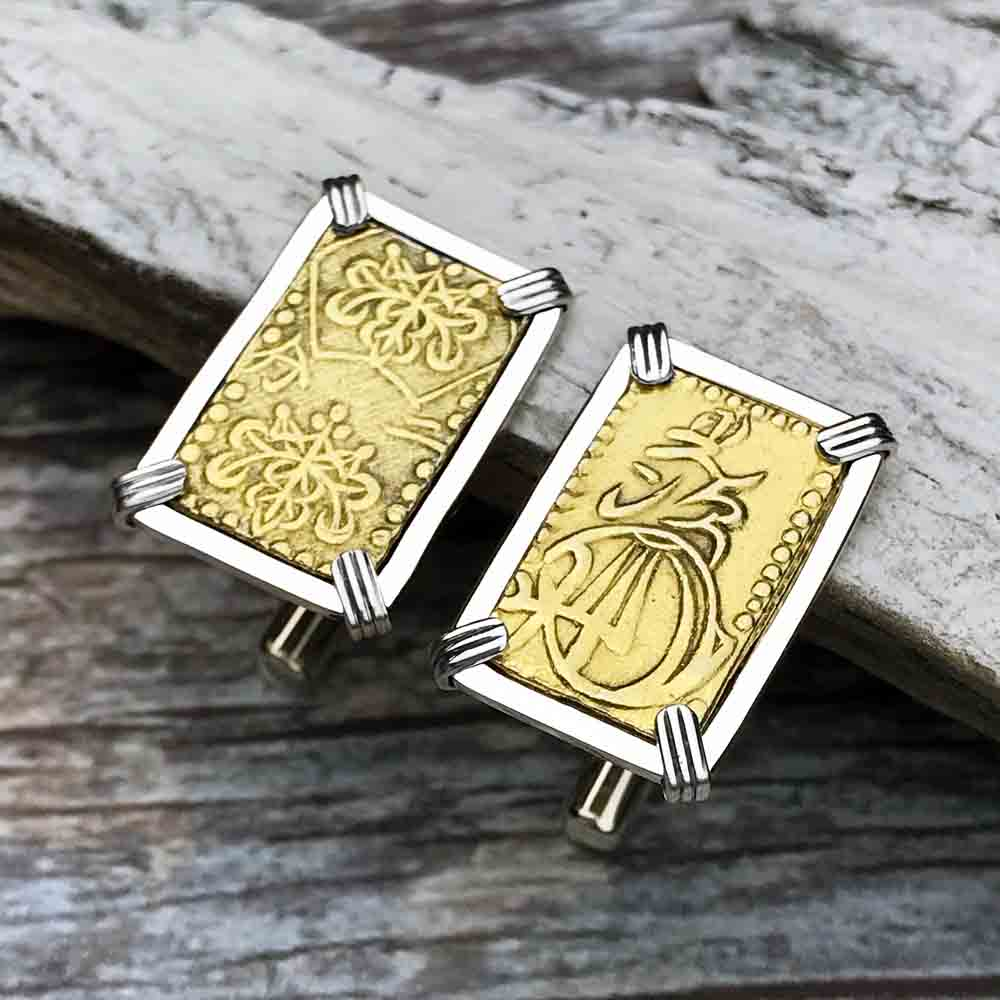The Coins of the Last Samurai & Shogunate Gold Nibu-Kin Cuff Links in Sterling Silver