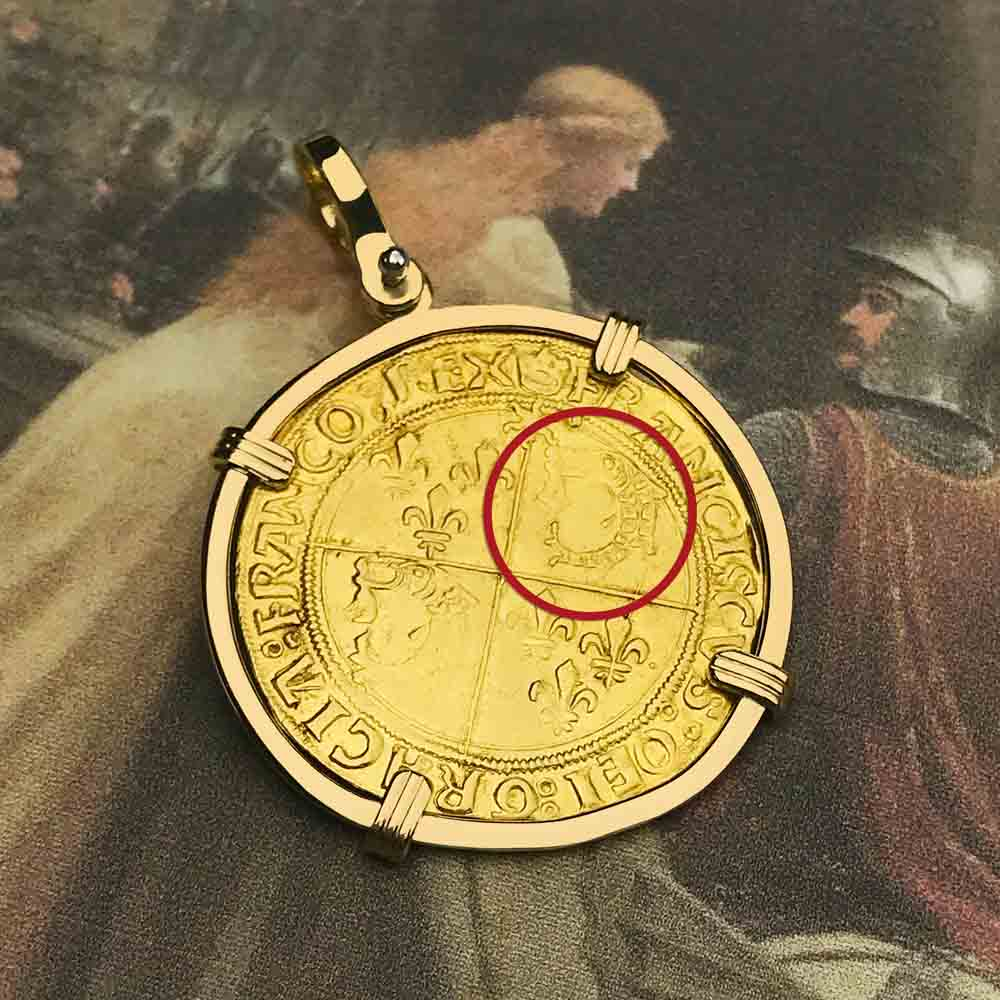Medieval France Royal Ecu d'or Francis I 22K Gold Cross Coin with 18K Gold Necklace