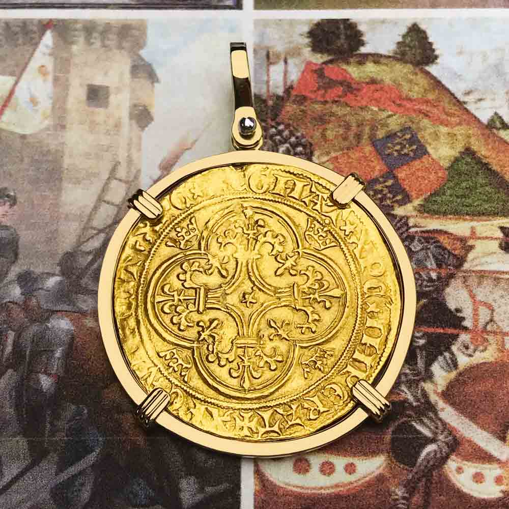 Medieval France Royal Ecu d'or Charles VI circa 1390 22K Gold Cross Coin with 18K Gold Necklace | Artifact #5540