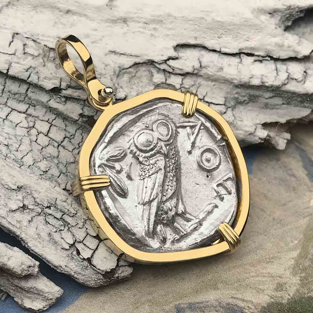 Ancient Greek Athena and the Owl Silver Tetradrachm circa 450 BC 14K Gold Necklace