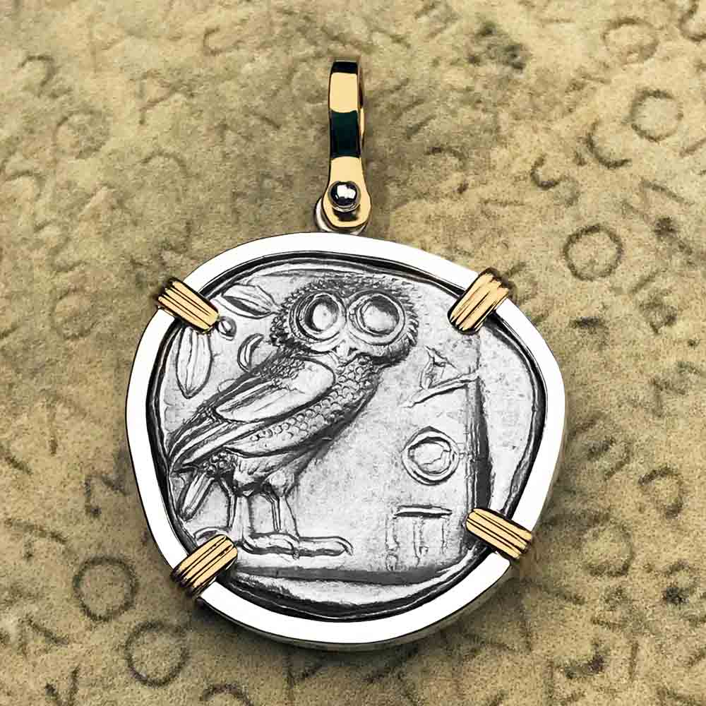 Ancient Greek Athena and the Owl Silver Tetradrachm circa 450 BC 14K Gold & Sterling Silver Necklace