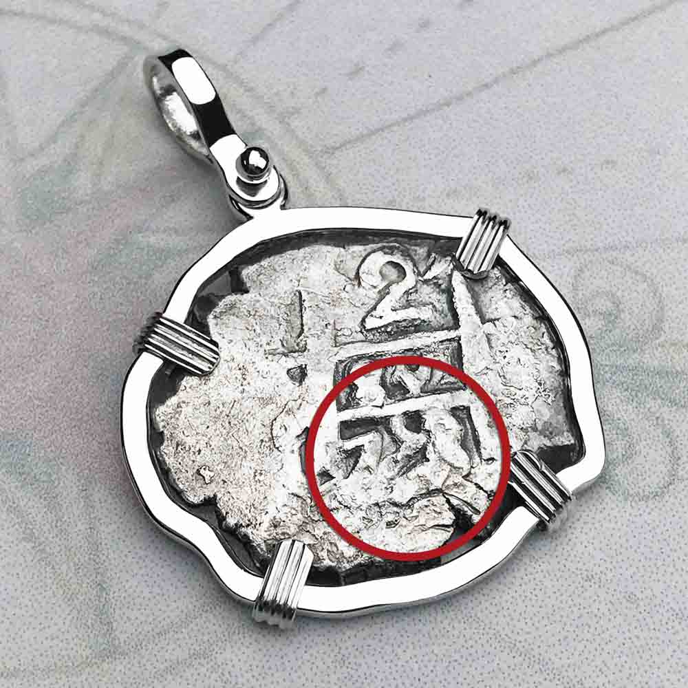 "1758 Spanish 2 Reale Pirate ""Piece of Eight"" Sterling Silver Necklace"