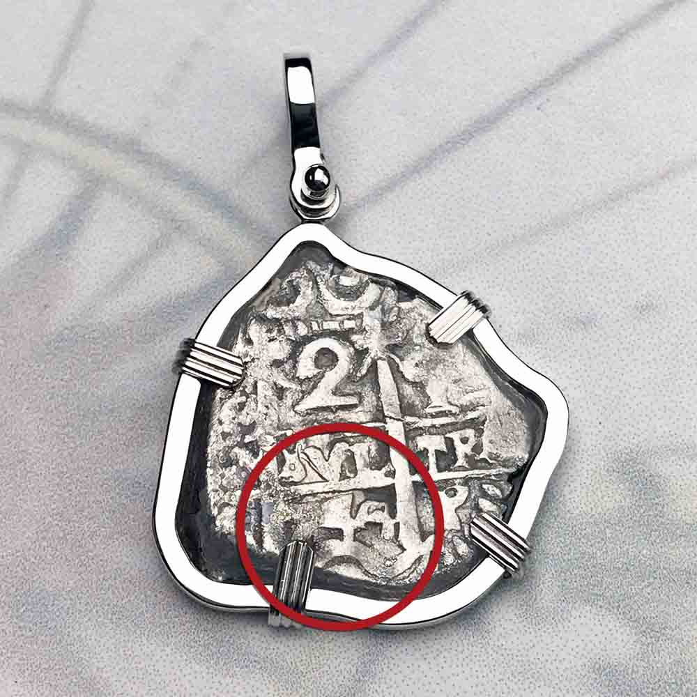 "1744 Spanish 2 Reale Pirate ""Piece of Eight"" Sterling Silver Necklace"