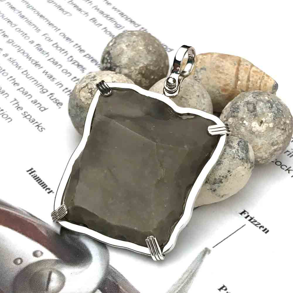 Queen Shipwreck 1790s British East India Company Brown Bess Musket Flint Sterling Silver Necklace