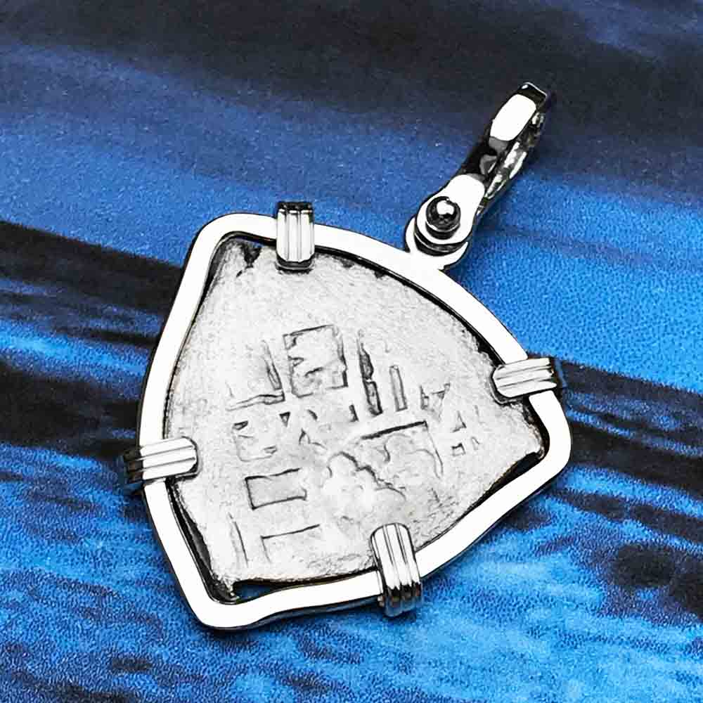 1715 Fleet Shipwreck Rare 1 Reale Piece of Eight 14K White Gold Necklace - the Cobb Coin Company Collection | Artifact #5574