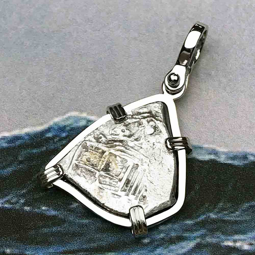 1715 Fleet Shipwreck Rare 1 Reale Piece of Eight 14K White Gold Necklace - the Cobb Coin Company Collection | Artifact #5575