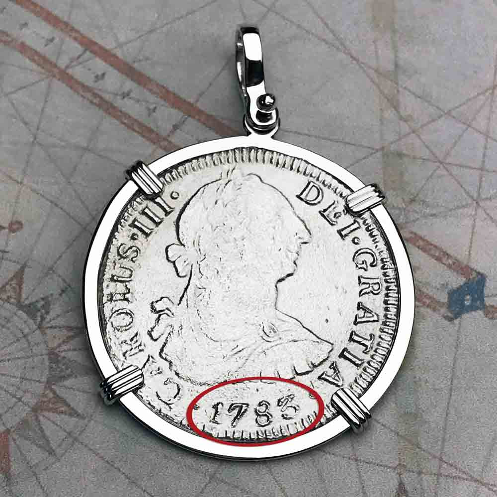 "El Cazador Shipwreck 1783 2 Reale ""Piece of 8"" Silver Treasure Coin Necklace"