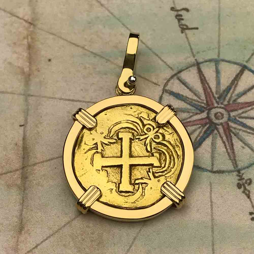 Pirate Era 22K Gold 2 Escudo - the Legendary Doubloon - 18K Gold Necklace