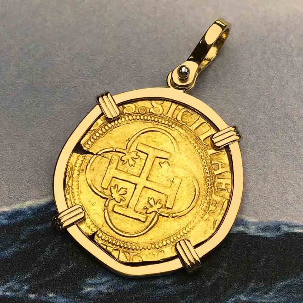 Shipwreck 22K Gold 1 Escudo - the Legendary Doubloon 18K Gold Necklace