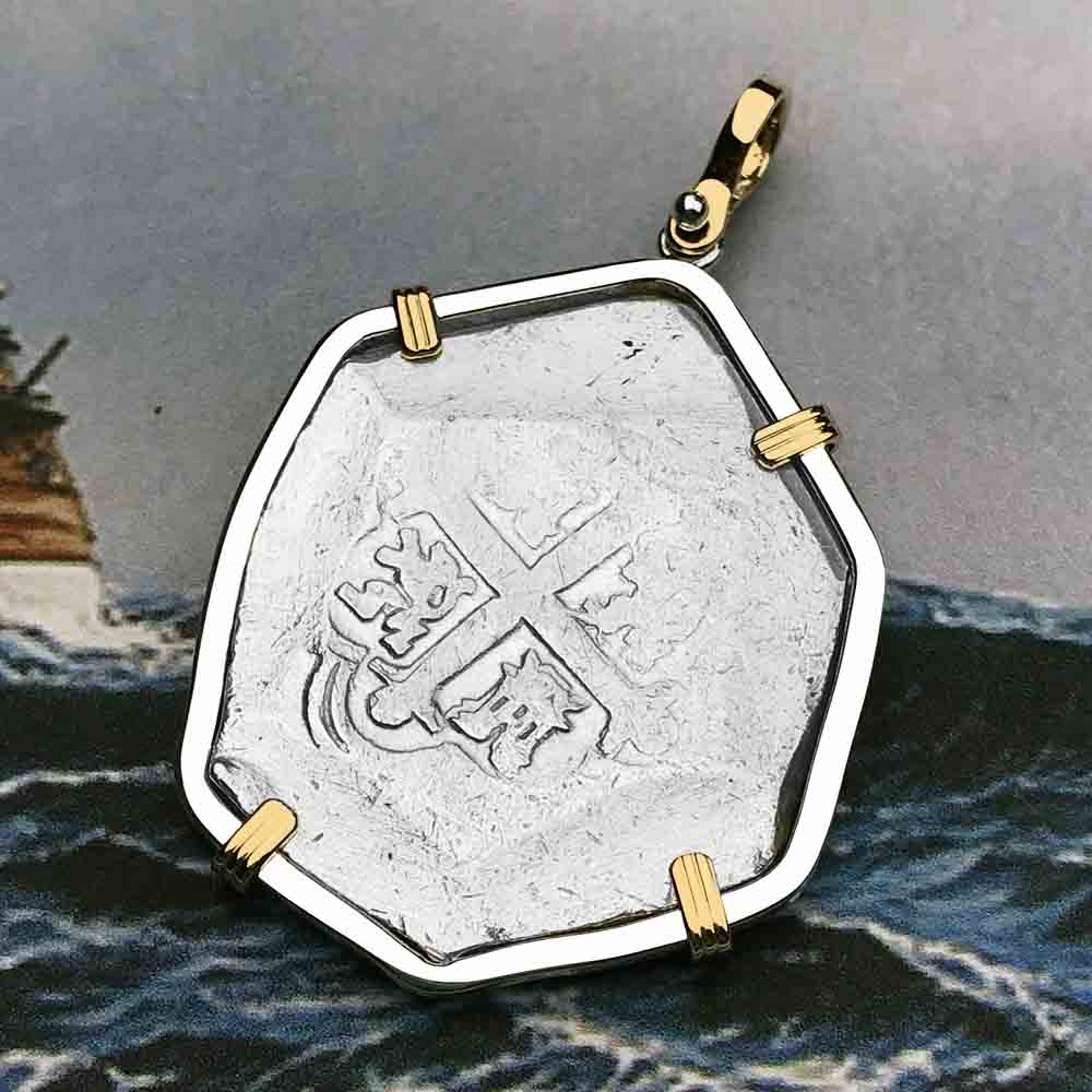 715 Fleet Shipwreck 8 Reale Piece of Eight 14K & Silver Gold Necklace - NASA Frank Vaughn Collection