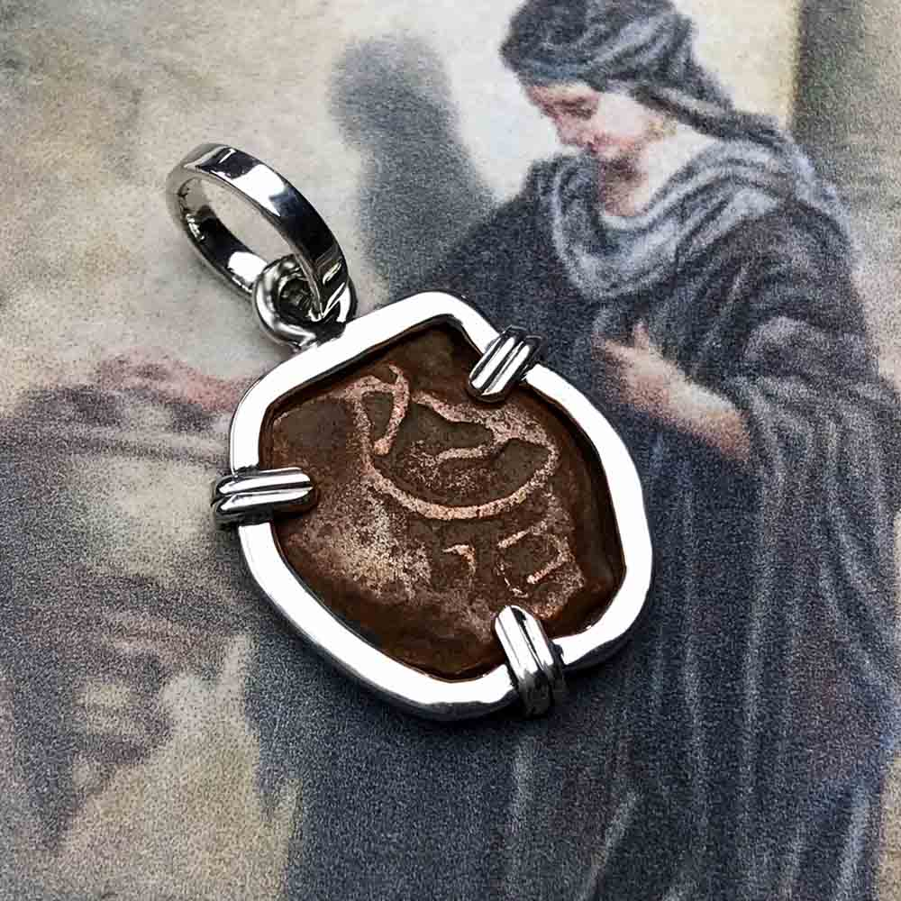 Hand Hammered Style Biblical Widow's Mite Sterling Silver Necklace