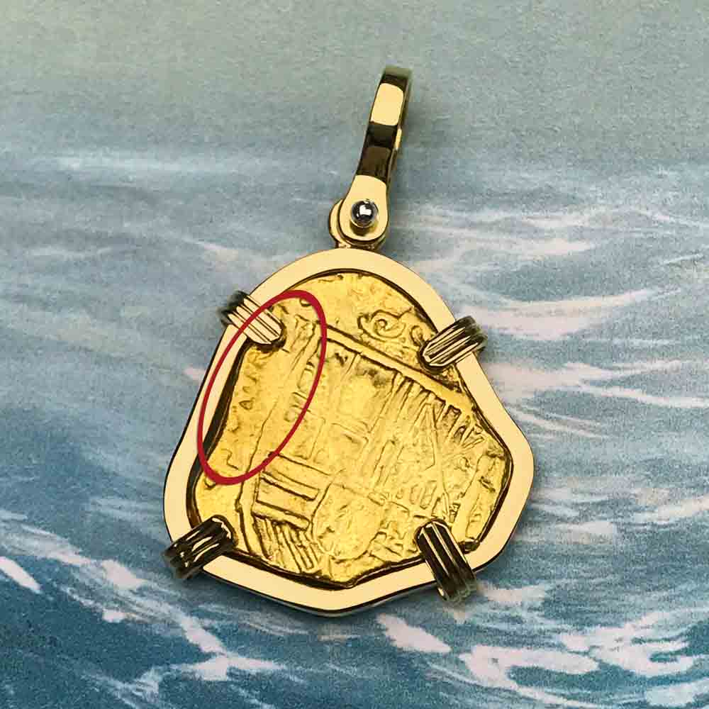 Rare Pirate Era Circa 1639 22K Gold 2 Escudo - the Legendary Doubloon - 18K Gold Necklace