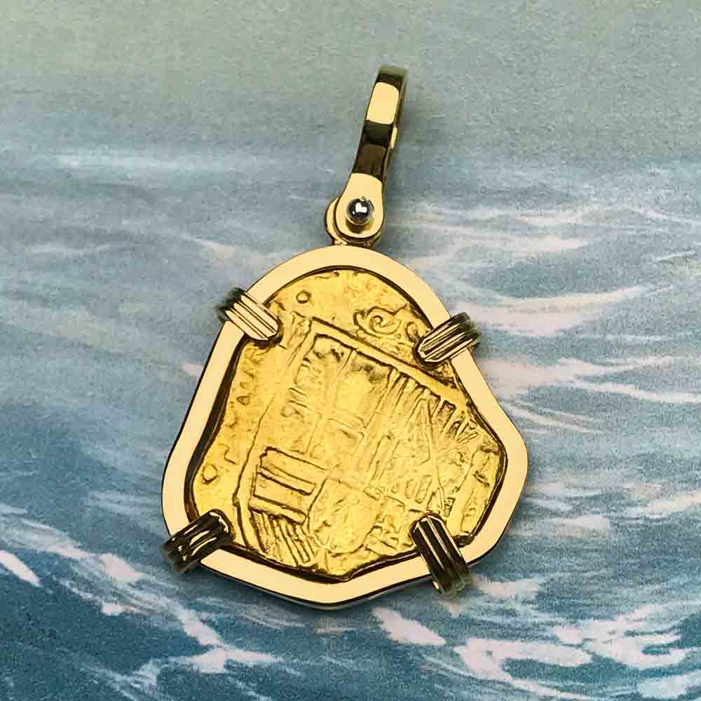 Rare Pirate Era Circa 1639 22K Gold 2 Escudo - the Legendary Doubloon - 18K Gold Necklace | Artifact #5671